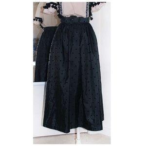 [ VINTAGE ] Velvet Polka Dot Midi Skirt